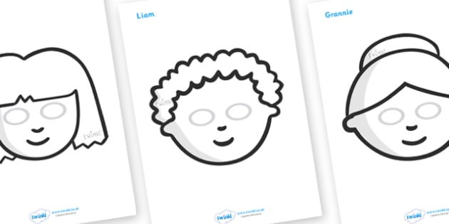 Story Role Play Masks (Black & White) to Support Teaching on Katie Morag - Katie Morag, Mairi Hedderwick, story, role play mask, role play, black and white, scotland, book, resources, scottish, book, resources, story book