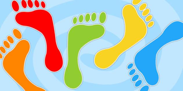Multicolour Footprint Cut Outs -  multicolour footprints, cut outs, footprints, footprint cut outs, multicolour footprint cut outs, cut out footprints