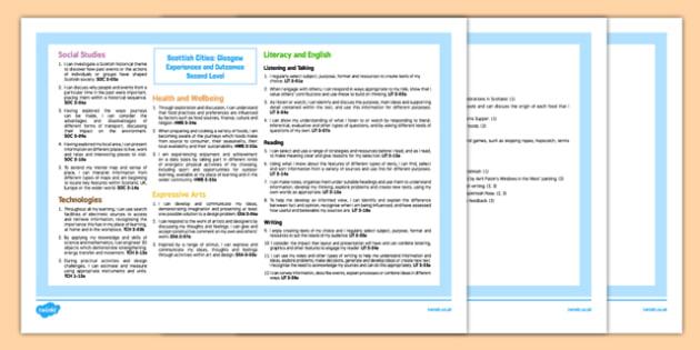 Scottish Cities Glasgow Interdisciplinary Topic Web CfE Second Level - Glasgow, Scotland, People, Place, City, Cross Curricular