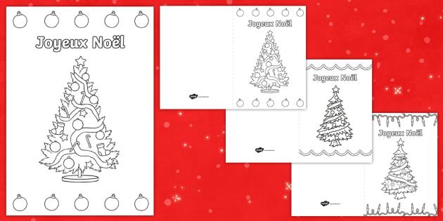 Les sapins de Noël Carte de Noël à colorier - Noël, Christmas, carte, colorier, coloriage, colour, card, tree, sapin, arts plastiques, French