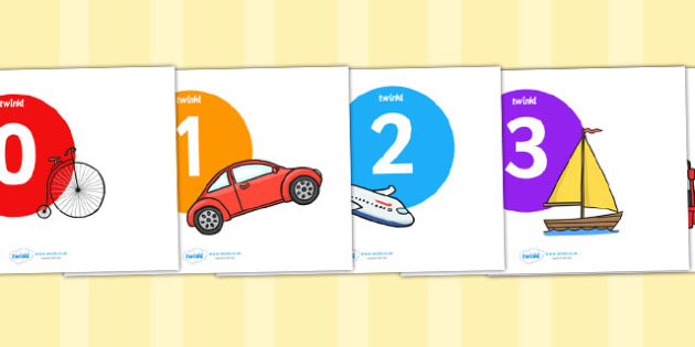 Numbers 0-25 on Coloured Circles with Transport Images - transport, numbers, 0-25, number