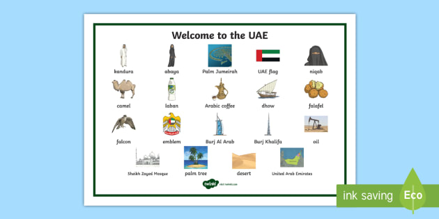 Welcome to the UAE Word Mat - UAE, Culture, Heritage, word mat, Emirati, Emirates.