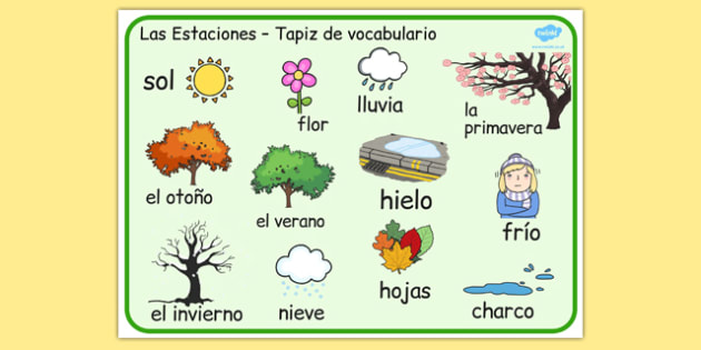 Spanish Seasons Word Mat - seasons, literacy, visual aids, words