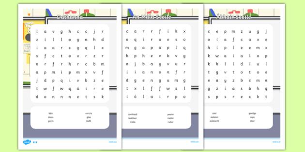 Irish Gaeilge Ar Scoil Word Search Pack Word Search Gaeilge - irish, gaeilge, ar scoil, word search, pack