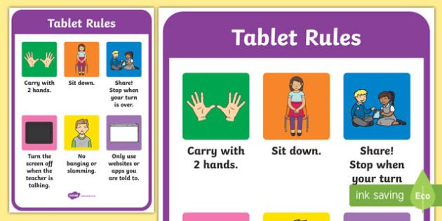 Tablet Rules Display Posters - ipad rules, tablet, display poster, ipad poster, poster for ipad rules, rules posrer, poster to display rules, poster for display