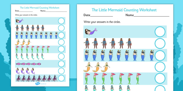 The Little Mermaid Counting Sheet - count, counting aid, maths