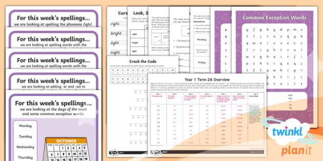 PlanIt Y1 Term 2A Bumper Spelling Pack - Spellings Year 1, y1, ks1, spelling, english, literacy, powerpoint, planning,