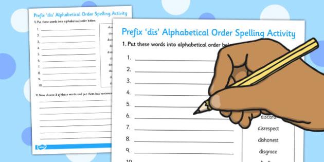 Prefix 'dis' Alphabetical Order Activity - activities, alphabet