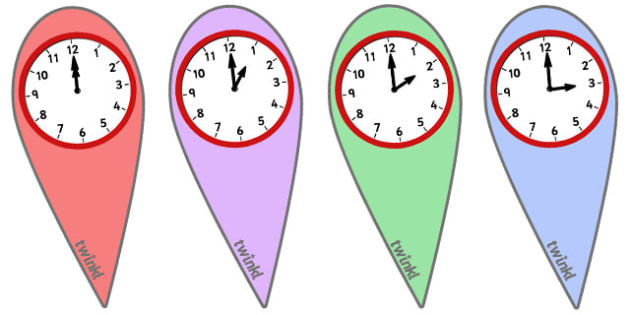 Analogue Time Fans (O' Clock) - Time fan, fan, Time resource, Time vocaulary, clock face, Oclock, half past, quarter past, quarter to, shapes spaces measures