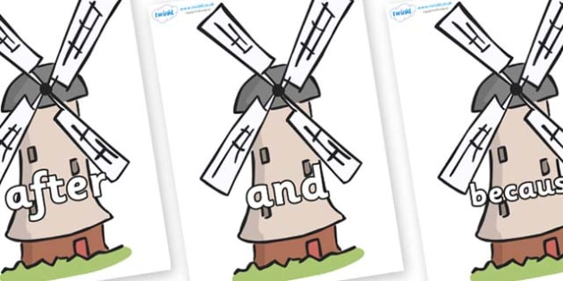 Connectives on Windmills - Connectives, VCOP, connective resources, connectives display words, connective displays