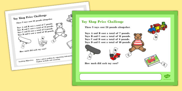 Toy Shop Price Maths Challenge A4 Display Posters - challenge