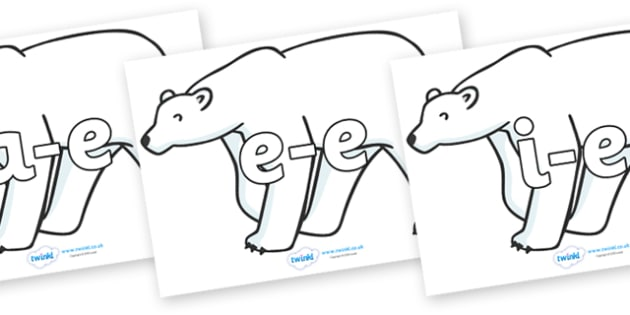 Split Digraphs on Polar Bears - Modifying E, letters, modify, Phase 5, Phase five, alternative spellings for phonemes, DfES letters and Sounds