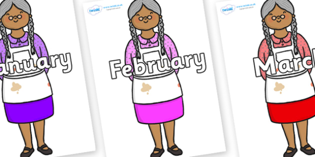 Months of the Year on Little Old Woman - Months of the Year, Months poster, Months display, display, poster, frieze, Months, month, January, February, March, April, May, June, July, August, September