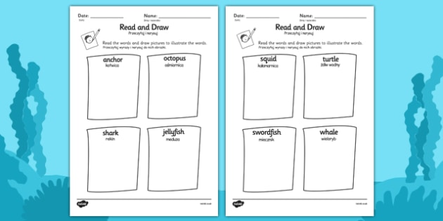 Under the Sea Read and Draw Worksheet Polish Translation - polish