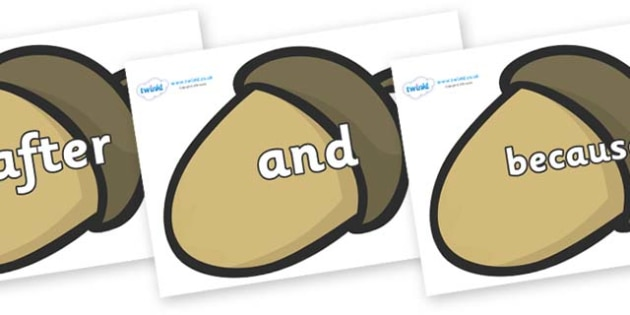 Connectives on Brown Acorns - Connectives, VCOP, connective resources, connectives display words, connective displays
