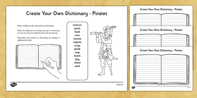 Pirates Key Vocabulary Create Your Own Dictionary