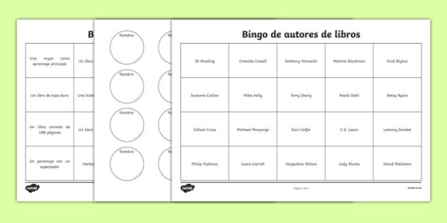Bingo de autores de libros - spanish, book, reading, read, bingo, activity, worksheet