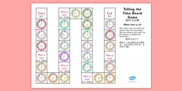 Telling The Time Board Game KS1 O'clock, Half Past, Quarter To and Past Mandarin Chinese Translation - mandarin chinese, telling the time, board game, ks1, o'clock, half past, quarter to, quarter past