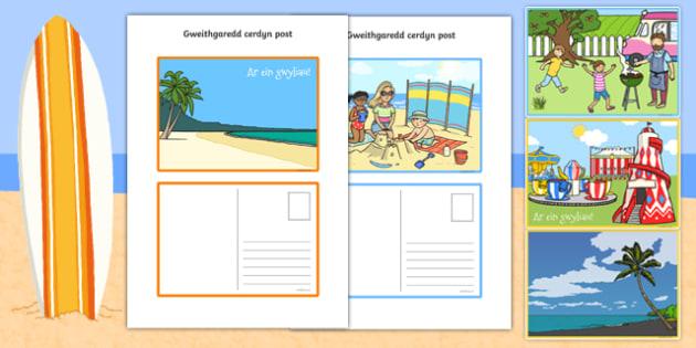 Gweithgaredd Creu Cerdyn Post - welsh, postcard, activity