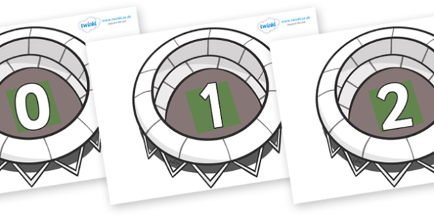 Numbers 0-50 on Stadiums - 0-50, foundation stage numeracy, Number recognition, Number flashcards, counting, number frieze, Display numbers, number posters