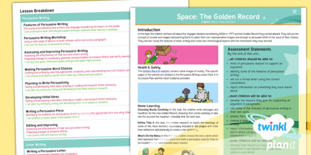 PlanIt Y6 Space: The Golden Record Topic Overview