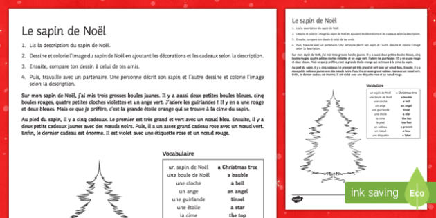 Christmas Tree Reading Comprehension Activity Sheet-French
