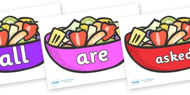 Tricky Words on Fruit Salad - Tricky words, DfES Letters and Sounds, Letters and sounds, display, words