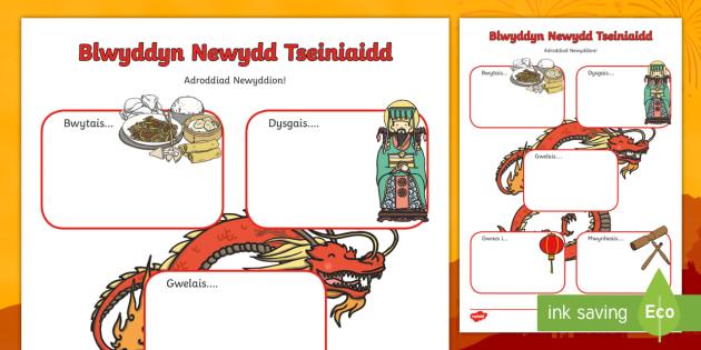 Fframiau Ysgrifennu Adroddiad Newyddion Digwyddiad Blwyddyn Newydd Tseiniaidd - Blwyddyn Newydd Tseiniaidd, adroddiad, adrodd, newyddion, ysgrifennu, dathlu, dathliad,Welsh