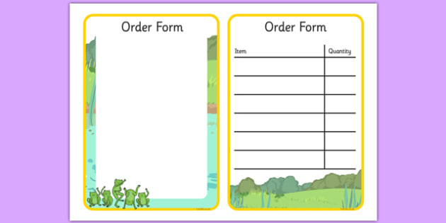 Nursery Rhyme Shop Role Play Form - nursery rhyme shop, nursery rhyme, rhyme, form, order form