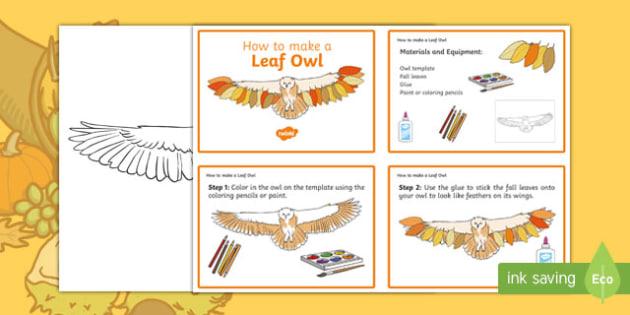 Leaf Owl Craft Instructions - usa, america, Autumn, seasons, september, october, topics, ks1, harvest, hibernation, reception, EYFS, owl, animal, forest, craft, leaves, leaf