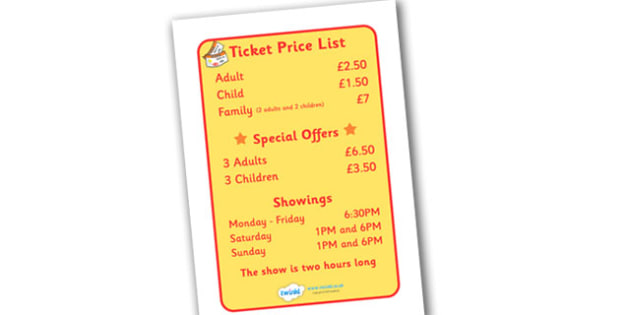 The Circus Ticket Price List and Show Times Display Sign - circus, ticket, clown, juggler, word card, flashcards, cards, acrobats, big top, magician, monkey, ring master, trapeze, horse, elephant, lion tamer, stilts, sea lion