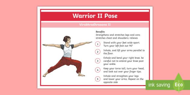 Yoga Warrior II Pose Step-by-Step Instructions - Yoga, health, stress, calm, peace, KS1, KS2, well being, anxiety, work life balance, WLB