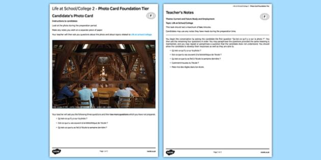 La vie scolaire 2 Carte photo Foundation Tier - french, School, école, education, éducation, college, lycée, photo, picture, card, foundation