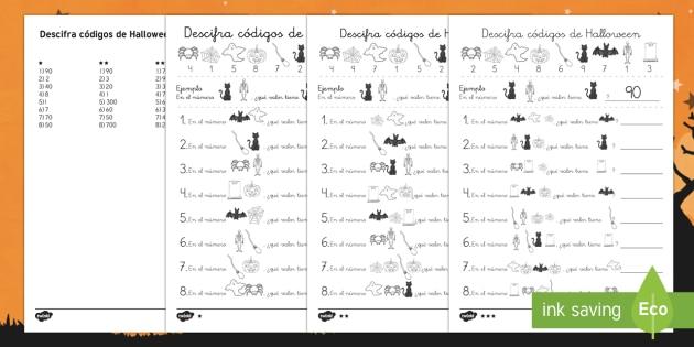Descifrar códigos de Halloween Ficha de actividad-Spanish