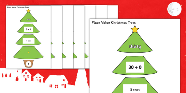 0-30 Place Value Christmas Trees - 0-30, place value, christmas tree, christmas, tree