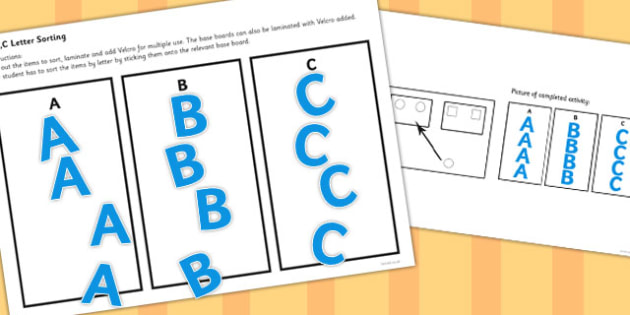 Workstation Pack Letter Sorting Activities Set 1 - teacch