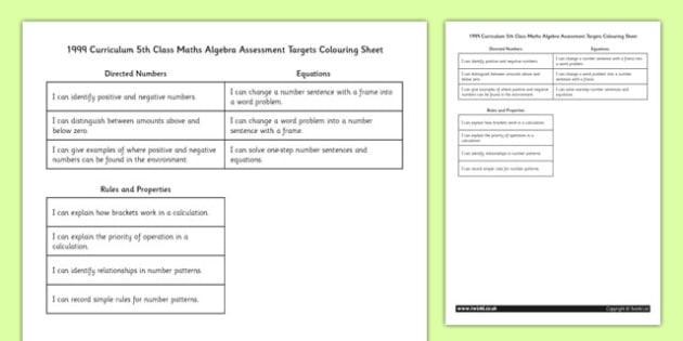 1999 Curriculum 5th Class Maths Algebra Assessment Targets Colouring Sheet - roi, gaeilge, maths, curriculum, 1999