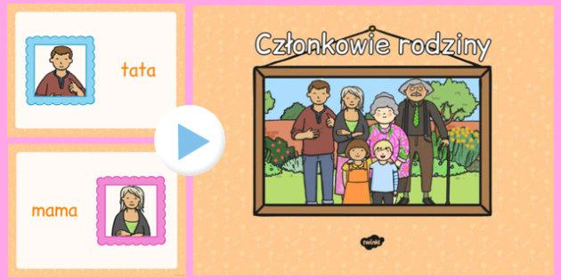 Prezentacja PowerPoint Członkowie rodziny po polsku - mama, tata