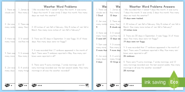 Weather Word Problems Differentiated Activity Sheets - addition, subtraction, word problems, weather, how many more, add, subtract, solve, problem, puzzle