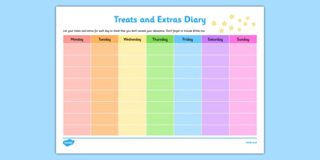 Treats and Extras Diary Checklist