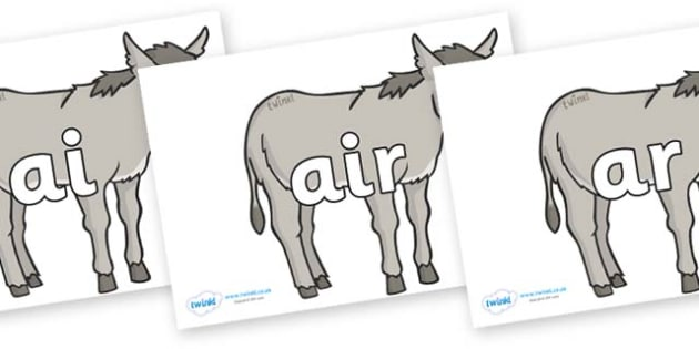 Phase 3 Phonemes on Donkeys - Phonemes, phoneme, Phase 3, Phase three, Foundation, Literacy, Letters and Sounds, DfES, display