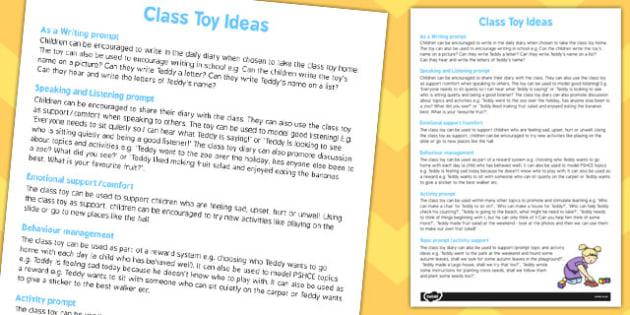 Class Toy Ideas Sheet - class toy, ideas, Worksheet, class, toy