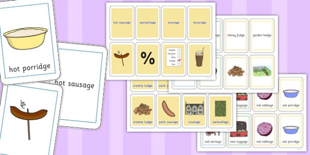Three Syllable Final 'J' Sound Playing Cards - final j, sound, playing