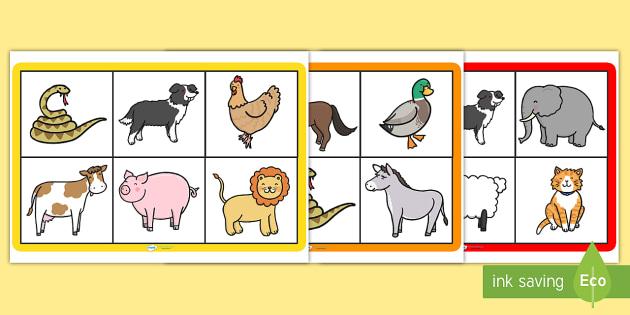 Animal Bingo - animal, bingo, bingo games, aninmal games, themed bingo, themed games, animal themed games, classroom games, wet play, wet play games