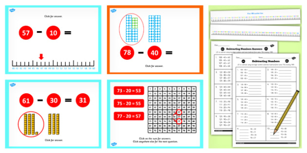 Year 2 Subtract 2 Digit Numbers and Tens Not Crossing 100