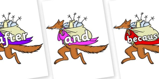 Connectives on Mr Fox to Support Teaching on Fantastic Mr Fox - Connectives, VCOP, connective resources, connectives display words, connective displays