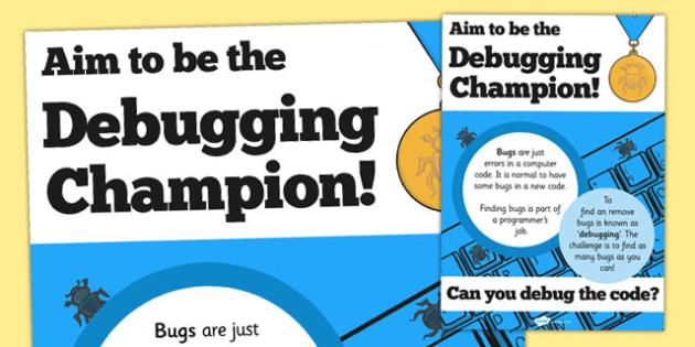 Computing Debugging Champion Poster - computing, debugging, bug