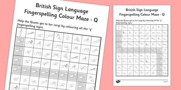 British Sign Language Fingerspelling Colour Maze Q - colour, maze