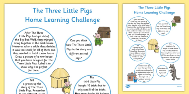 The Three Little Pigs EYFS Home Learning Challenge Sheet Reception FS2 - Homework, EYFS planning, Early years activities, traditional tales