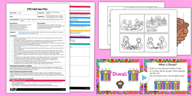 Diwali Diva Lamp Celebration Pictures EYFS Adult Input Plan and Resource Pack